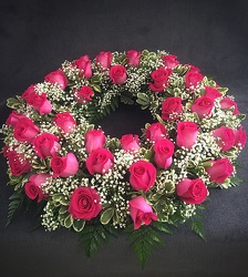 Fusia Rose Urn Wreath from FlowerCraft in Atlanta, GA