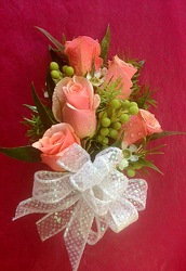 Peach Sweetheart Rose Corsage from FlowerCraft in Atlanta, GA
